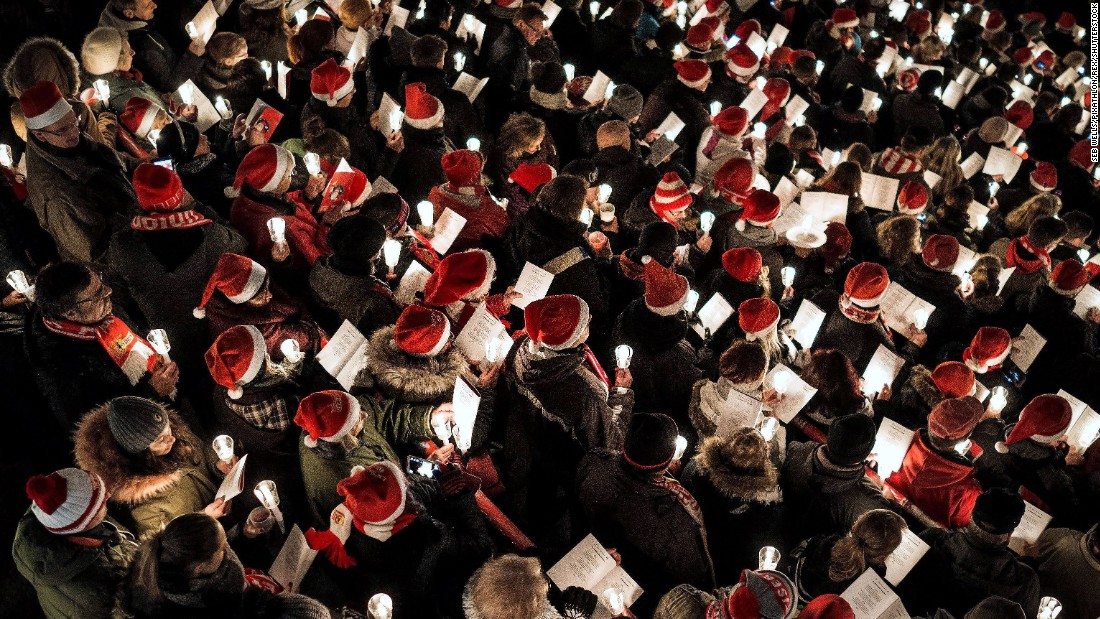 Fans gather to sing Christmas songs at the FC Union Berlin stadium on December 23 in Berlin, Germany.