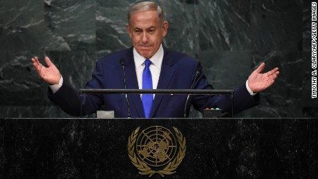 TOPSHOT - Benjamin Netanyahu, Prime Minister of Israel, addresses the 71st session of the United Nations General Assembly at the UN headquarters in New York on September 22, 2016. / AFP / TIMOTHY A. CLARY        (Photo credit should read TIMOTHY A. CLARY/AFP/Getty Images)