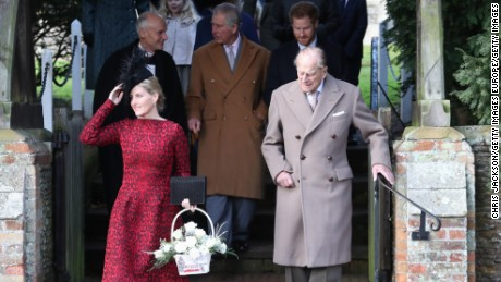 Prince Philip, Duke of Edinburgh attends a Christmas Day church service with members of the royal family at Sandringham.