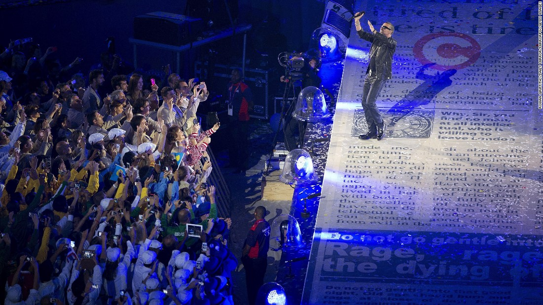 Michael performs at the closing ceremony of the 2012 Olympic Games.