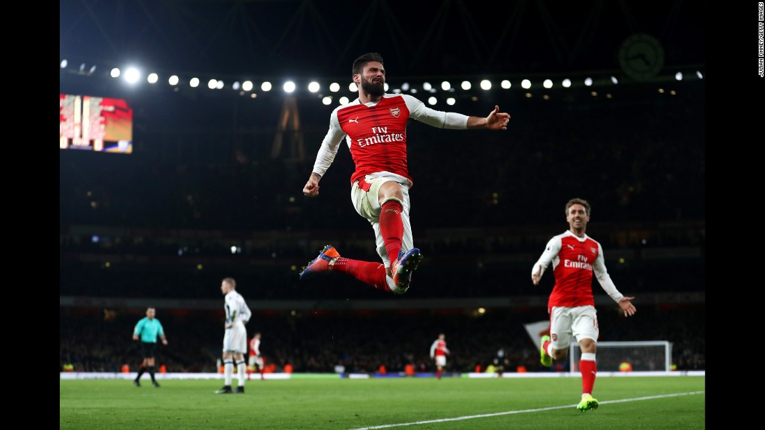 Arsenal's Olivier Giroud celebrates after scoring against West Brom during a Premier League match in London on Monday. Giroud's late goal secured his team's 1-0 win over West Brom.