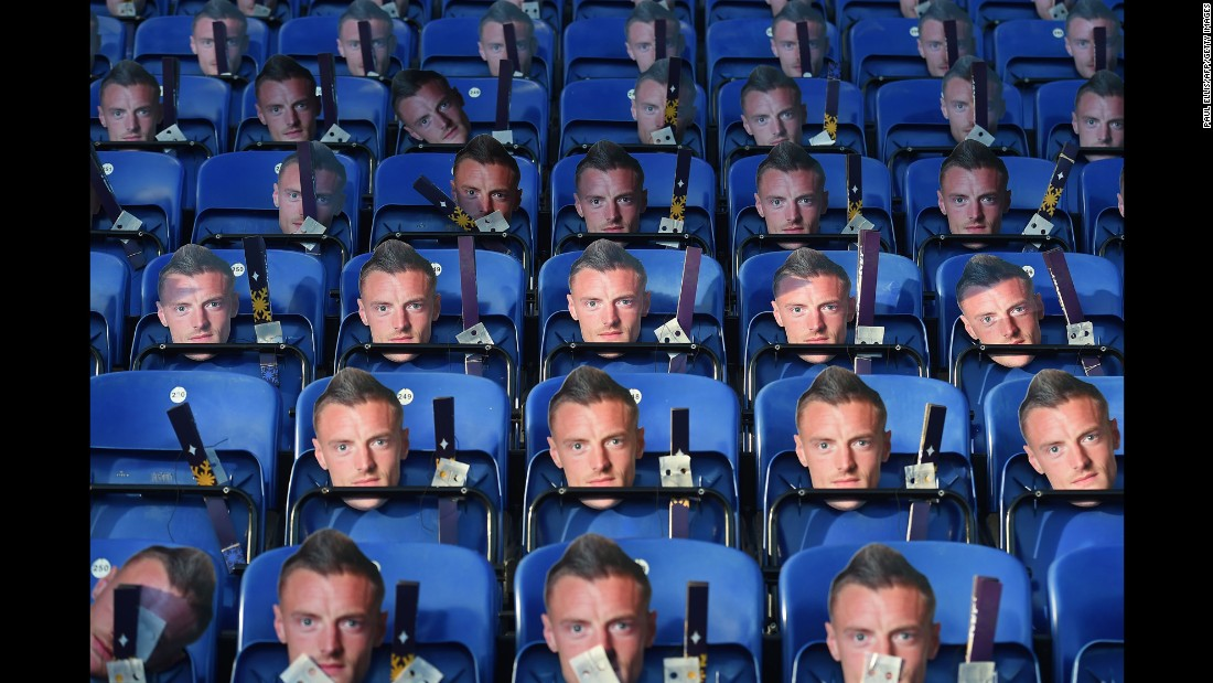 "Leicester City owners placed <a href=""http://edition.cnn.com/2016/12/26/football/jamie-vardy-masks-leicester-city-football/index.html"">Jamie Vardy masks</a> on seats for supporters ahead of the team's Premier League game against Everton in Leicester, England, on Monday. Some <a href=""http://edition.cnn.com/2016/12/26/football/jamie-vardy-masks-leicester-city-football/index.html"" target=""_blank"">30,000 masks</a> were left on seats to show Leicester City's disappointment in losing an appeal against Vardy's three-game ban for a sending-off against Stoke earlier this month."