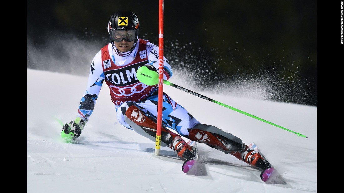 Austrian skier Marcel Hirscher competes in the slalom during a World Cup event in Madonna di Campiglio, Italy, on Thursday.