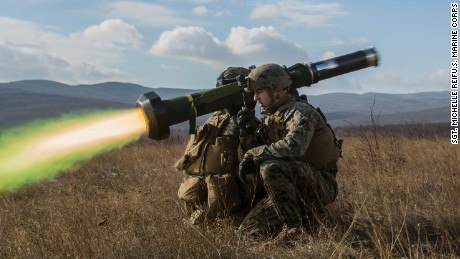 U.S. Marines fire the FGM-148 Javelin Missile during a live-fire range for exercise Platinum Lion at the Novo Selo Training Area, Bulgaria, Dec. 15, 2016. The exercise brought together eight NATO Allies and partner nations for a live-fire exercise aimed to strengthen security and regional defenses in Eastern Europe. Black Sea Rotational Force is an annual multilateral security cooperation activity between the U.S. Marine Corps and partner nations in the Black Sea, Balkan and Caucasus regions designed to enhance participants' collective professional military capacity, promote regional stability and build enduring relationships with partner nations. (U.S. Marine Corps photo by Sgt. Michelle Reif)