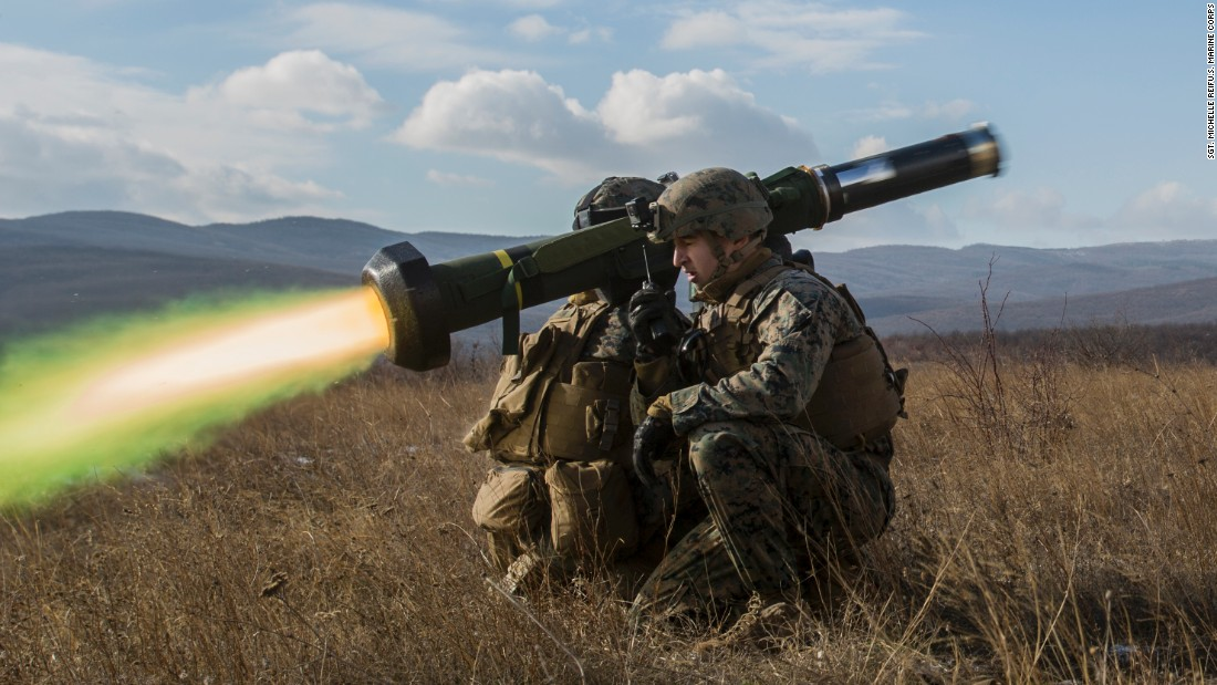 US Marines fire an FGM-148 Javelin missile during an exercise at the Novo Selo Training Area in Bulgaria on Thursday, December 15. The live-fire exercise aimed to strengthen security and regional defenses in Eastern Europe.