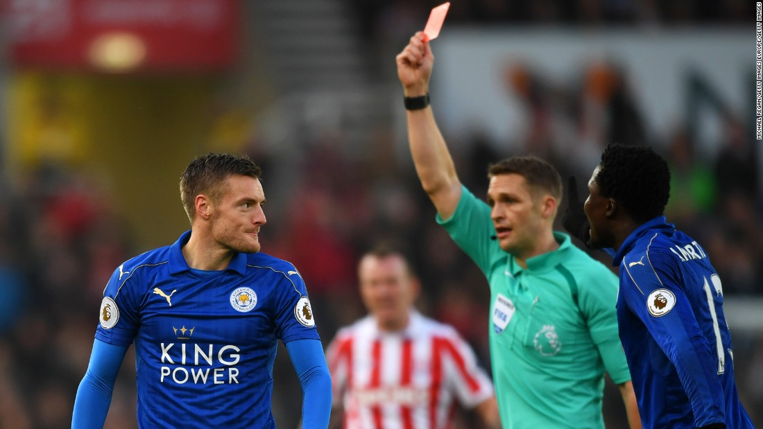 Vardy, Leicester's top scorer last year as the club won its first league title since being formed in 1884, was sent off for a two-footed challenge on Stoke's Mame Biram Diouf on December 17. The Foxes' appeal against his ban was rejected by the English Football Association.