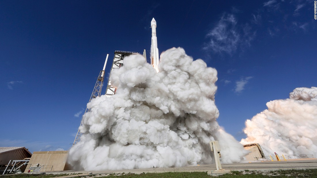 The EchoStar 19 spacecraft launches from aboard an Atlas V rocket in Cape Canaveral, Florida, on Sunday, December 18. The launch was supported by the US Air Force's 45th Space Wing unit.