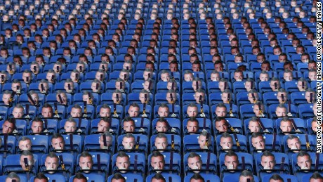 LEICESTER, ENGLAND - DECEMBER 26:  Paper masks of Leicester's Jamie Vardy are laid out for the fans prior to kickoff during the Premier League match between Leicester City and Everton at The King Power Stadium on December 26, 2016 in Leicester, England.  (Photo by Laurence Griffiths/Getty Images)