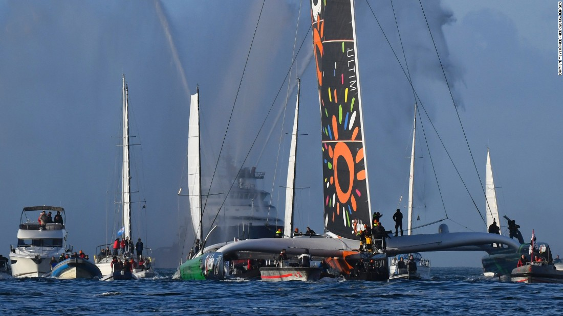The 48-year-old had slashed eight days off the record when he ended his circumnavigation on his 31-meter maxi trimaran on December 25 at the official finish line near Ushant, an island in the southwestern English Channel.