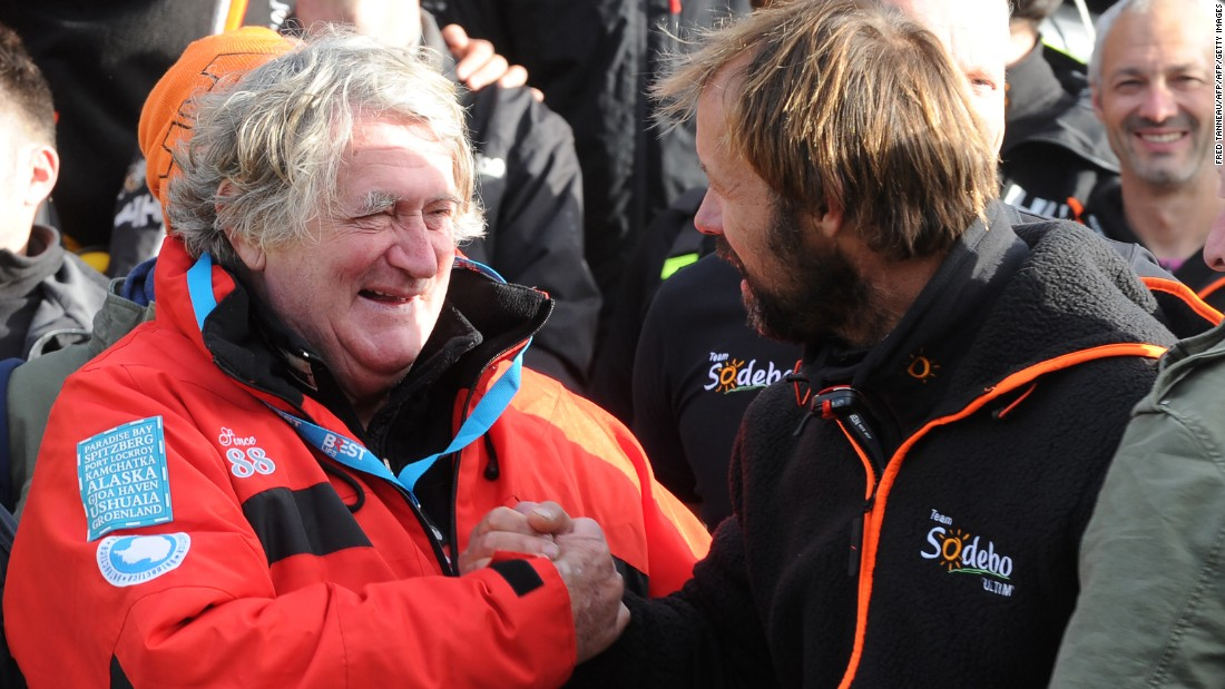 Coville was congratulated by veteran French skipper Olivier de Kersauson (left) who was a pioneer in multihull racing and twice held the Jules Verne Trophy for setting the fastest time around the world in sailboats of any kind with unrestricted crew size.