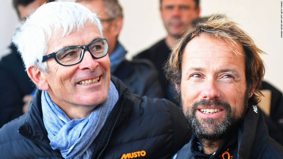 Coville speaks with Vincent Riou (left) -- a fellow French sailor who won the 2004 Vendee Globe round-the-world race but had to pull out of the 2016-17 edition in November after suffering damage to his boat. The Vendee Globe is also for solo sailors, but is restricted to monohull boats -- its record is just over 78 days.