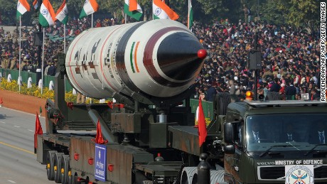The Agni-V missile is displayed during India's Republic Day parade in New Delhi on January 26, 2013.