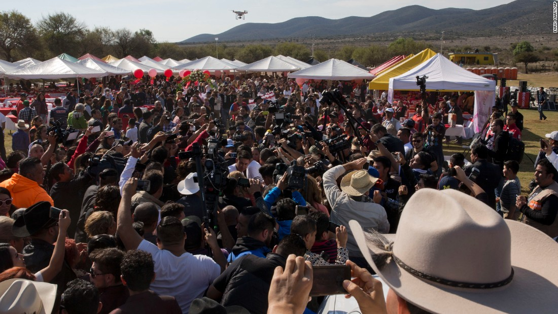 Thousands of party go-ers attend Rubi's birthday party in Joya, San Luis Potosi State, Mexico.