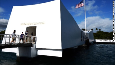 The USS Arizona Memorial, marking the resting place of the crewmen killed on December 7, 1941 when Japanese Naval Forces bombed Pearl Harbor, is pictured on December 24, 2016 in Pearl Harbor, Hawaii.     Japanese Prime Minister Shinzo Abe is to visit the Memorial on December 27, 2016 together with US President Barack Obama. / AFP / Jerome CARTILLIER        (Photo credit should read JEROME CARTILLIER/AFP/Getty Images)