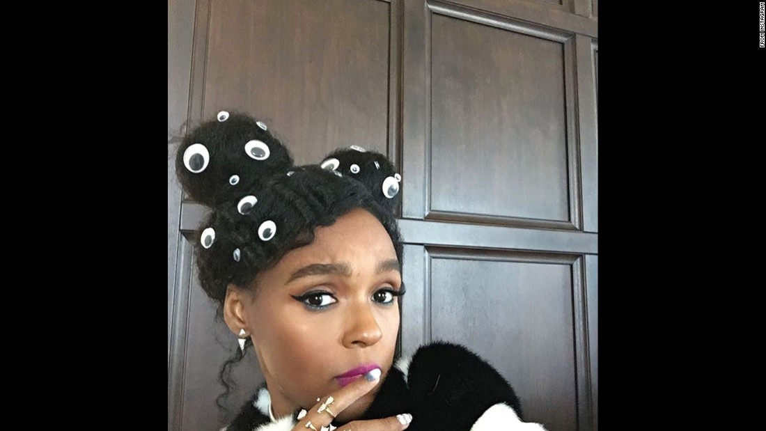"""EVEN WHEN I'M SLEEPING I KEEP 20 eyes open,"" singer Janelle Monae <a href=""https://www.instagram.com/p/BOP1-KVgWCL/"" target=""_blank"">posted on Instagram</a> on Tuesday, December 20."