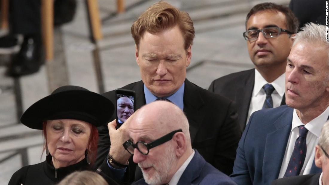 "Comedian Conan O'Brien takes a selfie before the Nobel Peace Prize ceremony in Oslo, Norway, on Saturday, December 10. Colombian President Juan Manuel Santos was <a href=""http://www.cnn.com/2016/10/07/world/nobel-peace-prize-2016/"" target=""_blank"">awarded this year's Nobel Peace Prize</a> for his efforts to end his country's long-running civil war with FARC rebels."