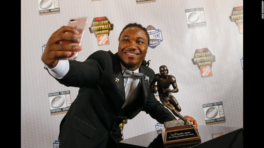D'Onta Foreman, a running back for the Texas Longhorns, takes a selfie after winning the Doak Walker Award -- an award given to the nation's best running back -- in Atlanta on Thursday, December 8. This season, Foreman ran for a career-high 2,028 yards in just 11 games.