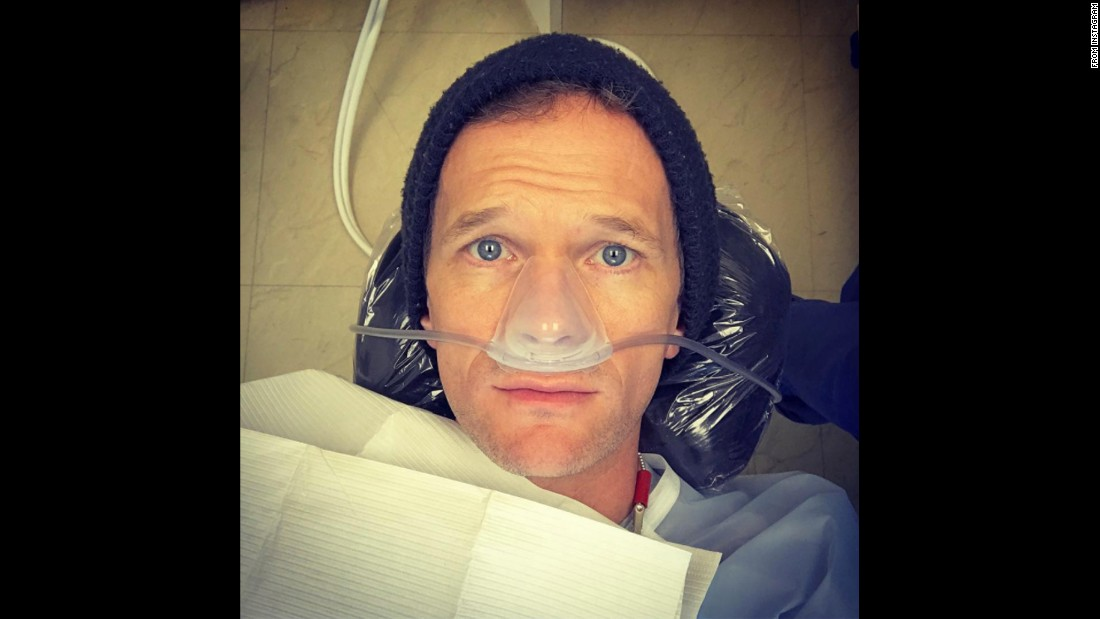 "Actor Neil Patrick Harris posted <a href=""https://www.instagram.com/p/BOXfhsWDTvI/"" target=""_blank"">this Instagram selfie</a> from a dentist appointment on Friday, December 23. He added the caption: ""Someone got a Christmas cavity. I blame the cookies. No, the peppermint bark. No, the Reece's Peanut Butter trees. No, the... aaaaah, nitrous oxiiiide... Nevermiiind..."""