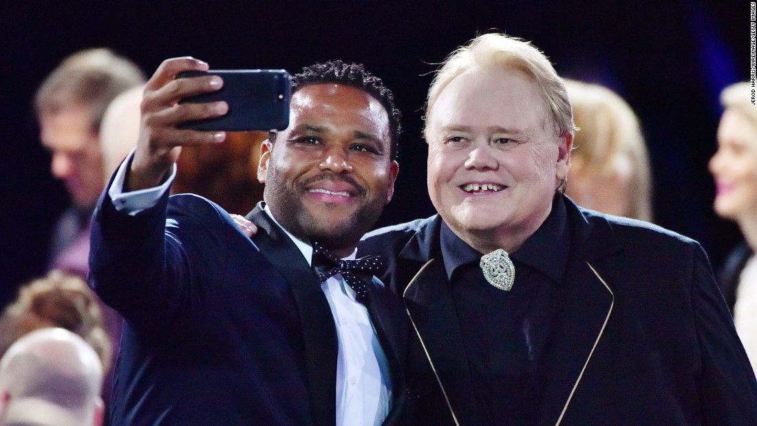 Comedians Anthony Anderson, left, and Louie Anderson take a selfie before the 22nd Annual Critics' Choice Awards in Santa Monica, California, on Sunday, December 11.