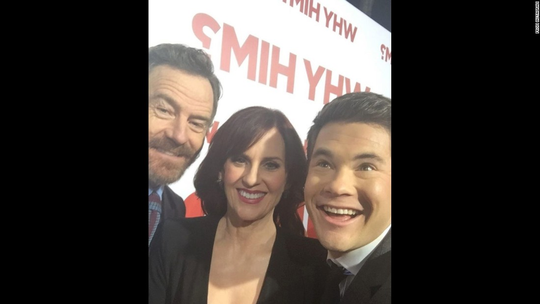 "Actor Adam Devine, right, posted <a href=""https://www.instagram.com/p/BOVaJfQhdf4/"" target=""_blank"">this Instagram selfie</a> with ""Why Him?"" stars Bryan Cranston and Megan Mullally on Thursday, December 22."