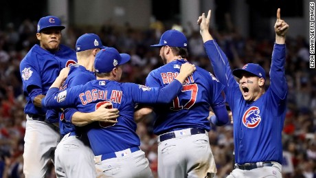 The Chicago Cubs celebrate after winning 8-7 against the Cleveland Indians in Game Seven of the 2016 World Series at Progressive Field on November 2, in Cleveland, Ohio. The Cubs win their first World Series in 108 years.