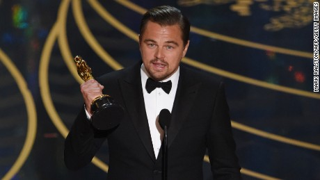 "Actor Leonardo DiCaprio accepts the award for Best Actor in, ""The Revenant"" on stage at the 88th Oscars on February 28, in Hollywood, California."