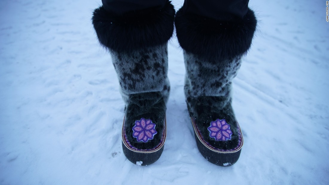 Sealskin boots traditionally were used to keep feet warm and dry.