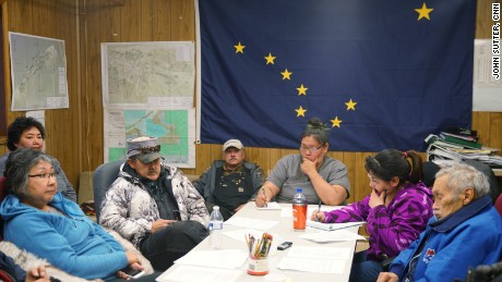 Local officials in Shishmaref discuss the possibility of climate relocation. They do not have the money to move.