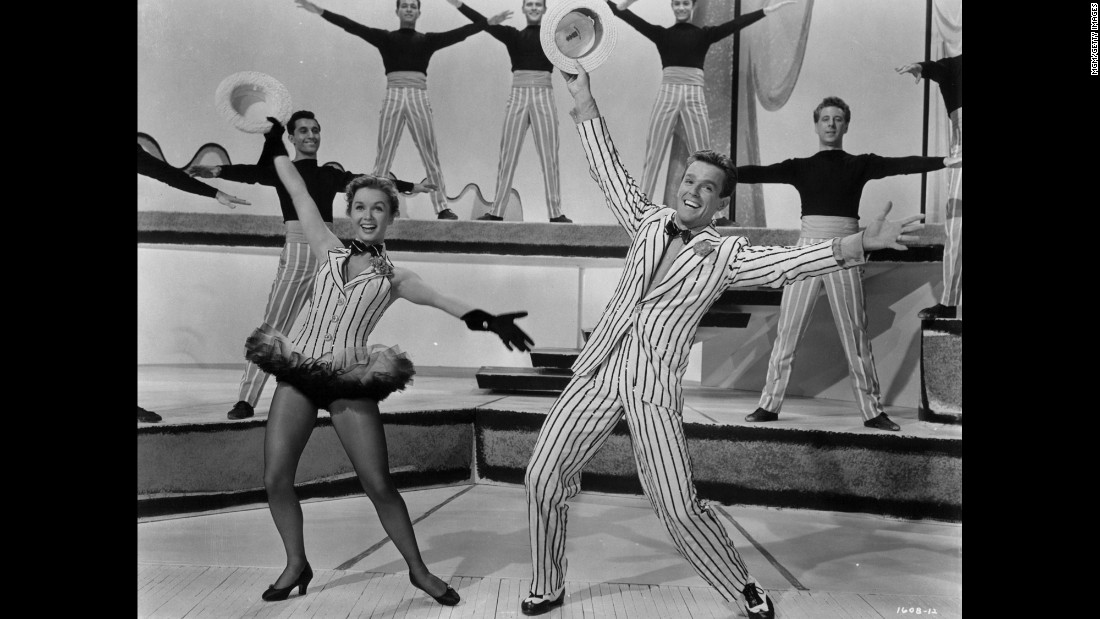 "Debbie Reynolds and Gower Champion dancing in a scene from the 1953 film ""Give A Girl A Break."""