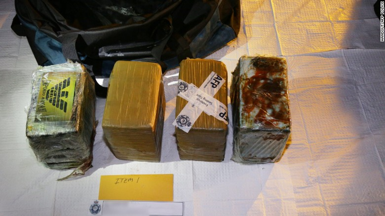 Drugs seized by Australian police as part of an operation in Brooklyn, NSW, on Christmas Day 2016.