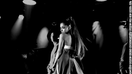 HOLLYWOOD, CA - OCTOBER 22:  (EDITORS NOTE: This image has been converted to black and white.)  Ariana Grande performs onstage during CBS RADIO's fourth annual We Can Survive concert at the Hollywood Bowl on October 22, 2016 in Hollywood, California.  (Photo by Kevin Winter/Getty Images for CBS Radio, Inc.)