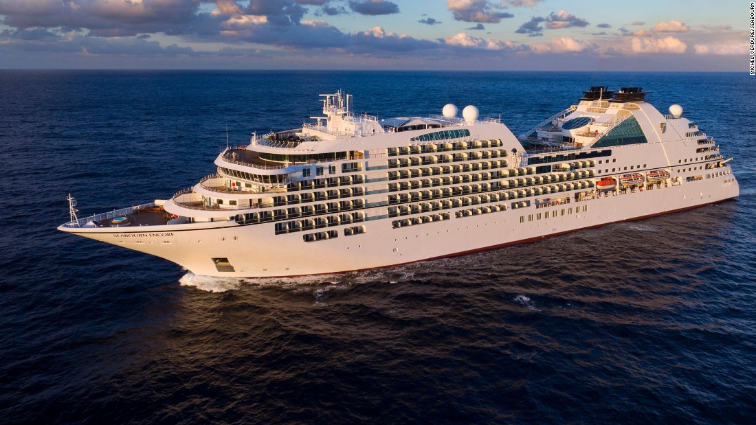 The all-suite Seabourn Encore carries 600 guests in 300 double-occupancy suites with private verandas.
