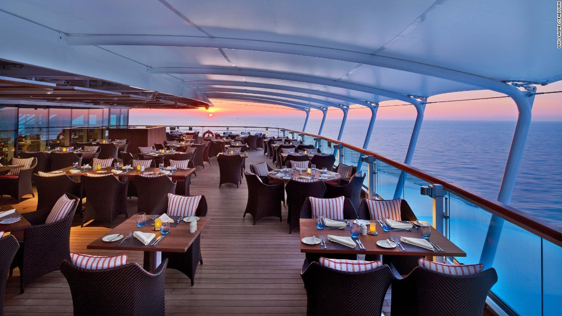 The Colonnade restaurant offers breakfast and lunch at indoor and outdoor tables aboard the Seabourn Encore.