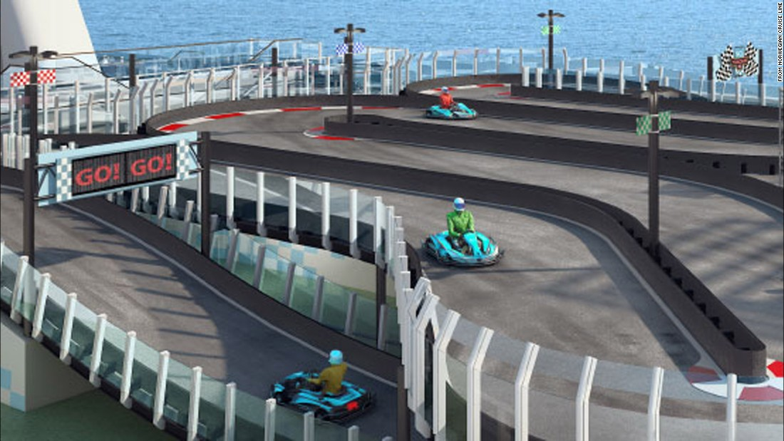 The ship boasts a two-level, electric-car raceway that allows up to 10 drivers to race at once.