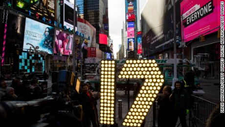 NEW YORK, NY - DECEMBER 15: The numerals '17' are lit up in Times Square ahead of the New Year's Eve celebration in Times Square, December 15, 2016 in New York City. The '17' numerals will be part of the '2017' sign that will light up light up above Times Square at midnight on December 31 to ring in the new year. (Photo by Drew Angerer/Getty Images)