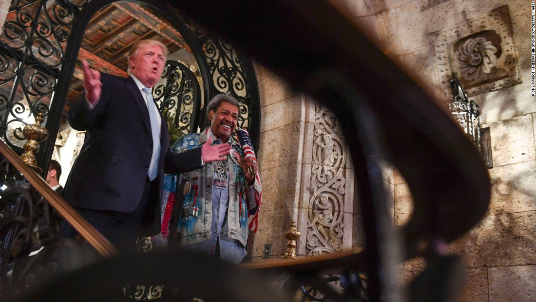 "President-elect Donald Trump stands with <a href=""http://www.cnn.com/2016/12/29/politics/don-king-donald-trump-meeting-peace/"" target=""_blank"">boxing industry legend Don King</a> as they address the media at a party at Trump's Mar-a-Lago Club on Wednesday, December 28, in Palm Beach, Florida."