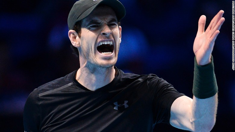 LONDON, ENGLAND - NOVEMBER 20: Andy Murray of Great Britain reacts during the Men's Singles Final against Novak Djokovic of Serbia at the Barclays ATP World Tour Finals at O2 Arena on November 20, 2016 in London, England.  (Photo by Justin Setterfield/Getty Images)