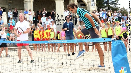 Federer teamed up with West Australian Premier Colin Barnett in a game of beach tennis.
