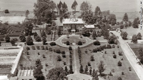 This 1940 aerial photo shows the Raskob Estate at Pioneer Point seen on the Eastern Shore in Maryland. Reports indicate the property was bought by the Soviet Union in the 1970s and historically served as a recreational getaway for its diplomats seeking a respite from the diplomatic whirl in nearby Washington, D.C.  The Obama administration is shutting access to a New York retreat and the swanky Maryland riverfront compound where Russian diplomats played tennis, sailed and escaped the political bustle, saying those doubled for intelligence activities. (The Baltimore Sun via AP)