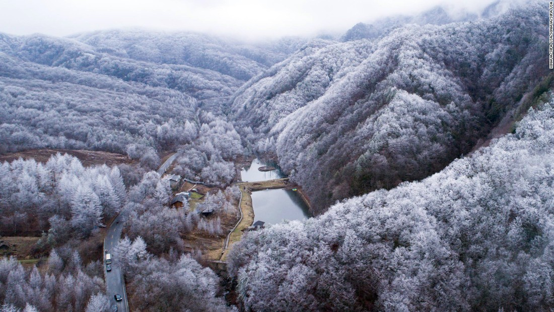 The snow-covered forest of Shennongjia, China, is seen from the air on Sunday, December 25.