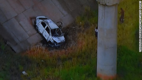Image from TV Globo News shows the car of Kyriakos Amiridis that was found under a bridge in Nova Iguacu.