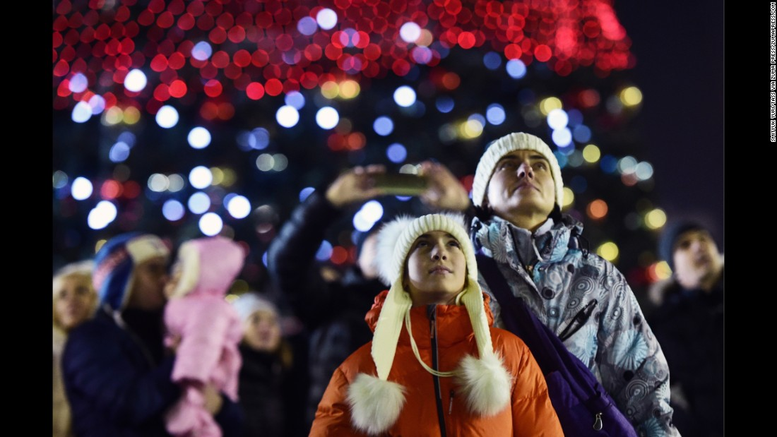 People gather in central Vladivostok as Russia's Pacific coast celebrates the arrival of the new year.