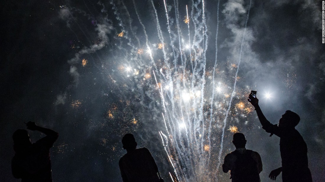 Fireworks illuminate the city's skyline during a New Year's Eve celebration in Yogyakarta, Indonesia.