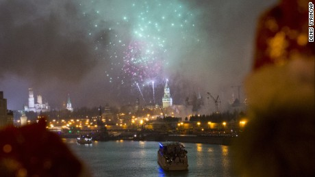 Fireworks light up are the Moscow River during new year celebrations in Russia.