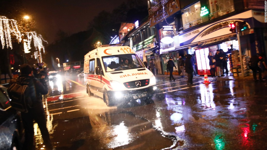 An ambulance rushes from the scene of the attack on January 1.