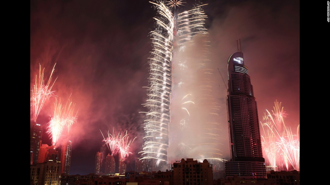 Fireworks explode at Burj Khalifa, the world's tallest building, in Dubai, United Arab Emirates.