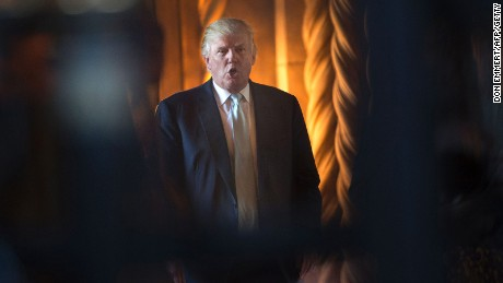 President-elect Donald Trump talks after a meeting on December 28, 2016, at Mar-a-Lago in Palm Beach, Florida.