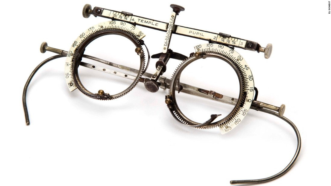 Phoropter test glasses, made of metal and ivory, designed in England in the mid-1800s.