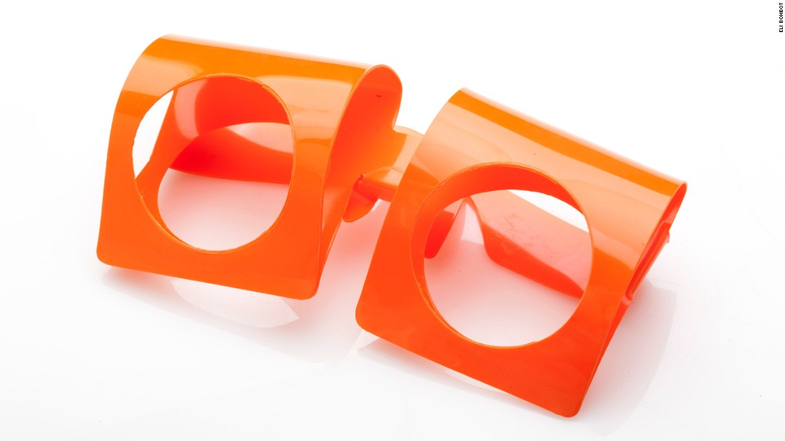 This pair, designed by Pierre Cardin in the 1960s, is made solely of plastic.