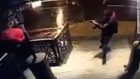 This handout video grab taken from CCTV and released on January 2, 2017 by Haber Turk Gazete newspaper shows an gunman carrying out an attack on the Reina nightclub, on the bank of the Bosphorus, in Istanbul on January 1, 2017.   